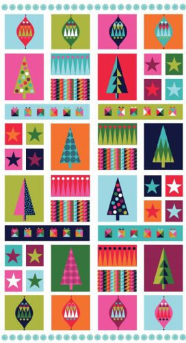 Makower - Wrap It Up, Panel - Christmas Patchwork Fabric